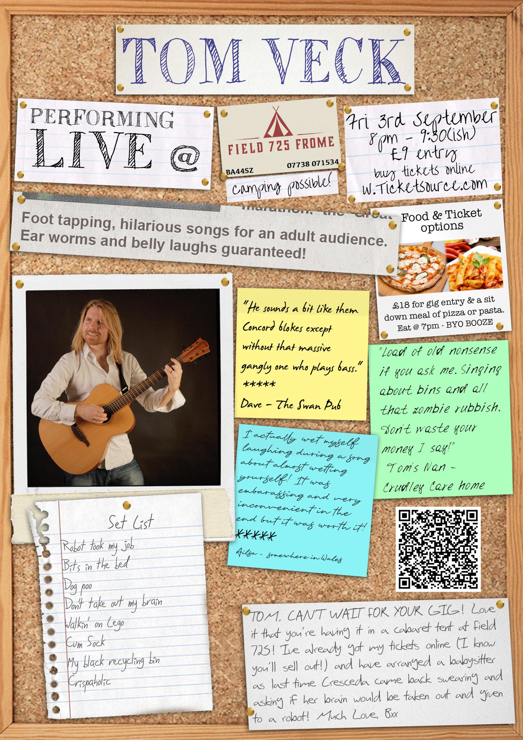 Poster for Tom Veck music gig on 3rd September 2021